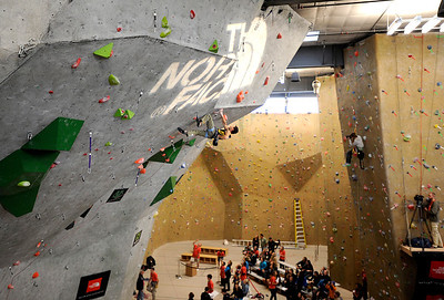 A climber scales the wall during an International Federation of Sport Climbing (IFSC) Lead World Cup competition on Saturday, Oct. 8, at Movement Climbing and Fitness on 28th Street in Boulder. For more photos and a video of the event go to www.dailycamera.com Jeremy Papasso/ Camera