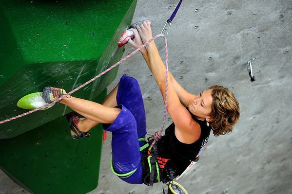 "Team USA's Chelsea Rude climbs during an International Federation of Sport Climbing (IFSC) Lead World Cup competition on Saturday, Oct. 8, at Movement Climbing and Fitness on 28th Street in Boulder. For more photos and a video of the event go to  <a href=""http://www.dailycamera.com"">http://www.dailycamera.com</a><br /> Jeremy Papasso/ Camera"