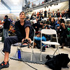 "Team USA's Alex Johnson puts her climbing shoes on before competing during an International Federation of Sport Climbing (IFSC) Lead World Cup competition on Saturday, Oct. 8, at Movement Climbing and Fitness on 28th Street in Boulder. For more photos and a video of the event go to  <a href=""http://www.dailycamera.com"">http://www.dailycamera.com</a><br /> Jeremy Papasso/ Camera"