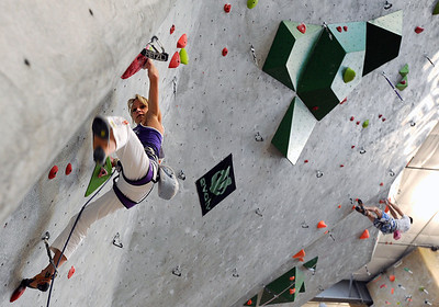 Team Austria's Angela Eiter climbs during an International Federation of Sport Climbing (IFSC) Lead World Cup competition on Saturday, Oct. 8, at Movement Climbing and Fitness on 28th Street in Boulder. For more photos and a video of the event go to www.dailycamera.com Jeremy Papasso/ Camera