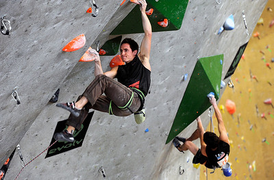 Team USA's Carlo Traversi, left, climbs during an International Federation of Sport Climbing (IFSC) Lead World Cup competition on Saturday, Oct. 8, at Movement Climbing and Fitness on 28th Street in Boulder. For more photos and a video of the event go to www.dailycamera.com Jeremy Papasso/ Camera