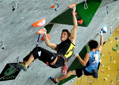 Team Espana's Eduard Marin Garcia, left, and Team Japan's Shinta Ozawa climb together during an International Federation of Sport Climbing (IFSC) Lead World Cup competition on Saturday, Oct. 8, at Movement Climbing and Fitness on 28th Street in Boulder. For more photos and a video of the event go to www.dailycamera.com Jeremy Papasso/ Camera