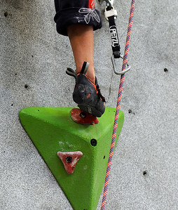 Team USA's Alex Johnson climbs during an International Federation of Sport Climbing (IFSC) Lead World Cup competition on Saturday, Oct. 8, at Movement Climbing and Fitness on 28th Street in Boulder. For more photos and a video of the event go to www.dailycamera.com Jeremy Papasso/ Camera