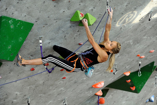 "Team USA's Sasha Digiulian climbs during an International Federation of Sport Climbing (IFSC) Lead World Cup competition on Saturday, Oct. 8, at Movement Climbing and Fitness on 28th Street in Boulder. For more photos and a video of the event go to  <a href=""http://www.dailycamera.com"">http://www.dailycamera.com</a><br /> Jeremy Papasso/ Camera"