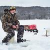 KRISTOPHER RADDER - BRATTLEBORO REFORMER <br /> Ed Brozo, of Bernstein, Mass., waits for a bite while ice fishing at Harriman Reservoir, in Wilmington, Vt., on Thursday, Feb. 1, 2018.