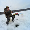 KRISTOPHER RADDER - BRATTLEBORO REFORMER <br /> Ed Brozo, of Bernstein, Mass., pulls up a small fish while ice fishing at Harriman Reservoir, in Wilmington, Vt., on Thursday, Feb. 1, 2018.