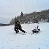 KRISTOPHER RADDER - BRATTLEBORO REFORMER <br /> Brian Higgins, of Hadley, Mass., waits for a bite while ice fishing at Harriman Reservoir, in Wilmington, Vt., on Thursday, Feb. 1, 2018.