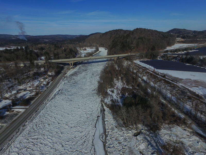KRISTOPHER RADDER - BRATTLEBORO REFORMER<br /> Ice jams cause minor flooding along the West River on Monday, Jan. 15, 2018.