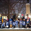 BEN GARVER — THE BERKSHIRE EAGLE<br /> Protesters hold up signs to traffic on Park Square in Pittsfield, Mass., supporting impeachment articles against President Trump to be passed in Congress, Tuesday, December 17, 2019.