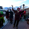 KRISTOPHER RADDER - BRATTLEBORO REFORMER<br /> Opeyemi Parham tries to pump up the crowd with a dance at the Brattleboro Co-Op before marching to show support for International Women's Day on Wednesday, March 8, 2017. The march was organized by the Brattleboro based Women's Action Team.