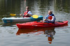 David Buckley, owner of Graftonondack Outfitters in Grafton, paddles with Troy Mayor Lou Rosamillia on the Hudson River during the opening of the boat launch at 123rd Street Wednesday, August 21, 2013 in Lansingburgh, N.Y.. (J.S.CARRAS/THE RECORD)