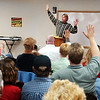 Globe/T. Rob Brown<br /> David Kinsey of Monett speaks and gets crowd response during a recovery meeting Sunday, Nov. 27, 2006, at Shoal Creek Revival Church east of Granby.<br /> Section: Special Section - Meth Story: Max McCoy
