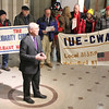 "Lauren Halligan/TheRecord Rep. Paul Tonko speaking Wednesday January, 22, 2014 at Albany City Hall against ""Fast Track"" legislature for trade agreements."