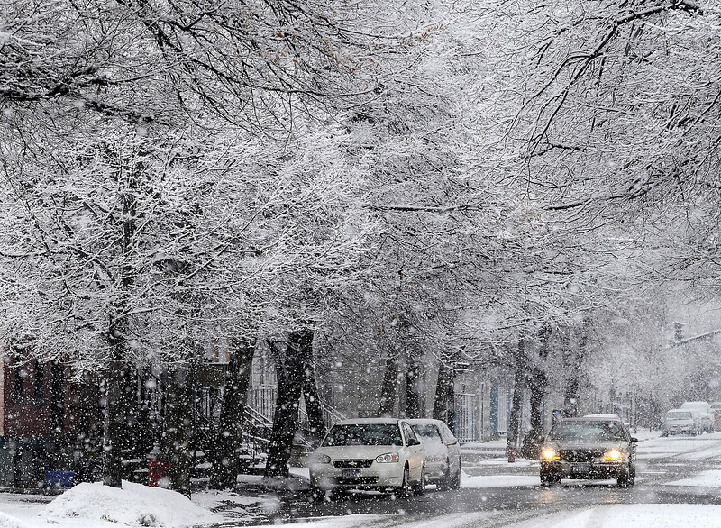 Mike McMahon - The Record, Snow falls on 5th Ave in Troy,  January 18, 2014.