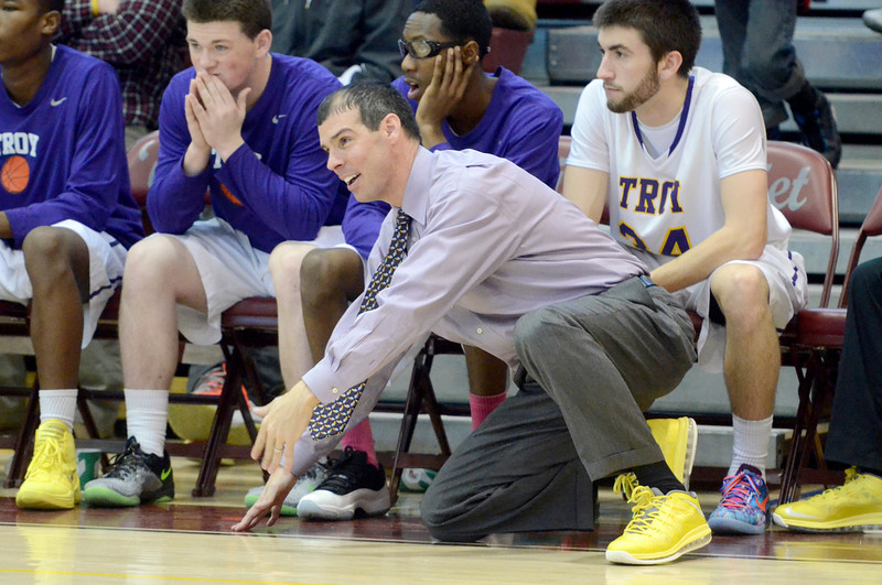 J.S.Carras/The Record  Troy coach Rich Hurley calls out instructions to team against Newburgh Free Academy during third quarter action in the Albany Academy High School Challenge basketball action Sunday, January 26, 2014 at Watervliet High School in Watervliet, N.Y..