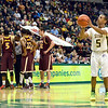 J.S.CARRAS/THE RECORD  Siena's Evan Hines (5) takes technical foul shot against Iona during first half of men's college basketball action Sunday, January 12, 2014 at the Times Union Center in Albany, N.Y..