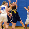J.S.Carras/The Record  Averill Park's Kelly Donnelly feed offensive rebound against Shaker during first quarter of high school girls basketball action Tuesday, January 21, 2014 at Shaker High School in Latham, N.Y..