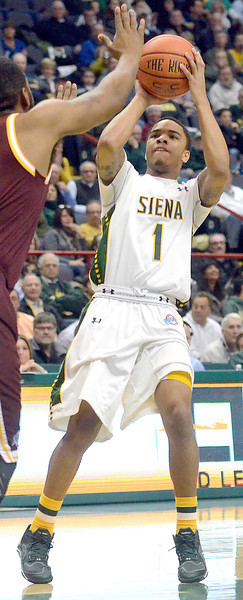J.S.CARRAS/THE RECORD  Siena's Marquis Wright (1) against Iona during first half of men's college basketball action Sunday, January 12, 2014 at the Times Union Center in Albany, N.Y..