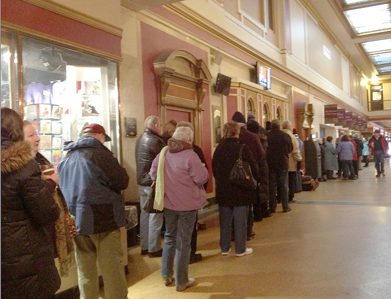 Danielle Sanzone - The RecordCrowds at the Proctors Box Office as tickets for The Book of Mormon go on sale.