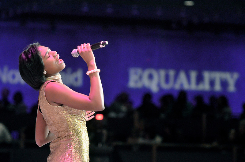 "Mike McMahon - The Record, Arielle King, sophomore at Albany High School, sings ""Greatest Love of All"" at the observance of the life and legacy of Dr. Martin Luther King, Jr. held in the Empire State Plaza Convention Center.  January 20, 2014."