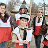 Mike McMahon - The Record, L-R Sally Bray, Danny McGrath, Keon Bray, Jonathan Cole and Caeden Bray. Red Cross volunteers from Boy Scout Troop 50  of Jefferson NY help out  NENY chapter by delivering info to the Albany community on fire safety ,  January 18, 2014.
