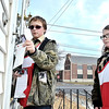 Mike McMahon - The Record, Jonathan Cole and Caeden Bray. Red Cross volunteers from Boy Scout Troop 50  of Jefferson NY help out  NENY chapter by delivering info to the Albany community on fire safety ,  January 18, 2014.