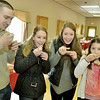 Mike McMahon - The Record, L-R Matt Lafortune, Abby Kronau Emily Kronau and Lilly Kronau taste the Pumpkin Beef Chili. Chili Challenge at The Brunswick Elks Lodge,  January 18, 2014.
