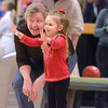 J.S.Carras/The Record  Addison Forth 3, reacts with her grandmother Maggie Forth as her balll knocks down pins during Bowl over Polio sponsored by Southern Rensselaer County Rotary Club Sunday, January 26, 2014 at Spare Time Family Fun Center in East Greenbush, N.Y..