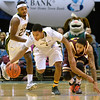 J.S.CARRAS/THE RECORD  Siena's Marquis Wright (1) steals ball away from Iona's Tre Bowman during first half of men's college basketball action Sunday, January 12, 2014 at the Times Union Center in Albany, N.Y..