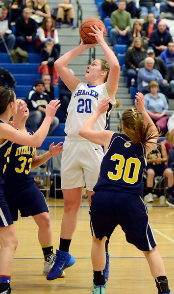 J.S.Carras/The Record   Shaker's Sage VanAmerongen (20 puts up shot against Averill Park during first quarter of high school girls basketball action Tuesday, January 21, 2014 at Shaker High School in Latham, N.Y..