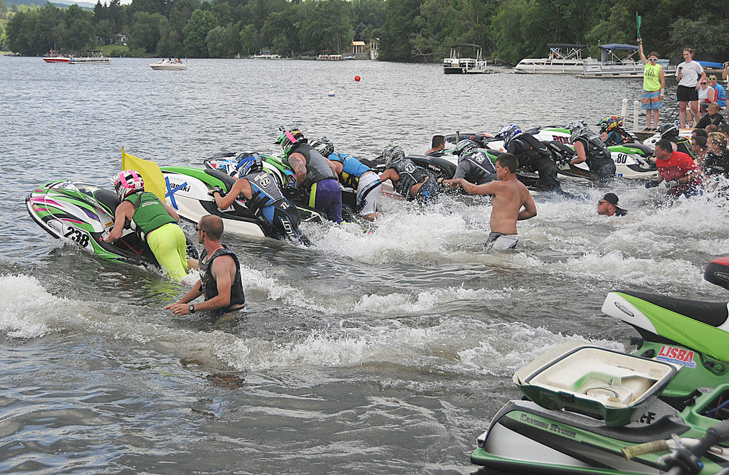 . Racers take off at the start of a Jet Ski race on Pontoosuc Lake Saturday, July 12, 2914 (Scott Stafford/Berkshire Eagle Staff)