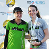 Globe/T. Rob Brown<br /> Olympic runner Deena Kastor, left, of Mammoth Lakes, Calif., poses for a photo with Kelsey Kuykendall, of Carl Junction, who placed second in the 20-25 age group in the 5K during the Memorial Run Saturday morning, May 18, 2013, in downtown Joplin. Webb came in first place.