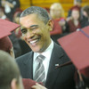 Globe/Roger Nomer<br /> President Barack Obama meets with Joplin High graduates before Monday's ceremony.
