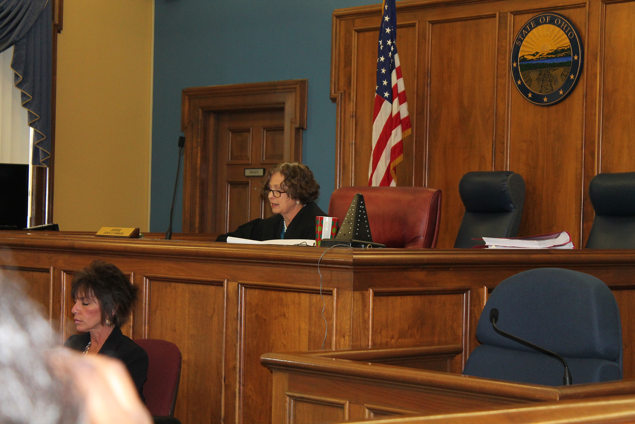 LAWRENCE PANTAGES / GAZETTE  Medina County Common Pleas Court Judge Joyce V. Kimbler on Monday reads her finding of a death penalty sentence for James Tench, 30, of Brunswick, for the conviction of aggravated murder of his mother, Mary Tench. The crime occurred in November 2013.