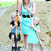 Amber Welch and her daughters at the groundbreaking ceremony for their Habitat For Humanity home in Thorntown.