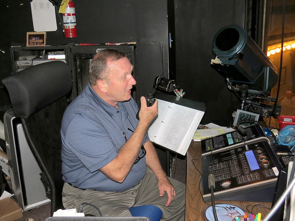 Ed Stockman, Beef and Boards Dinner Theatre stage manager, gives a command Thursday afternoon, June 27. Stockman has been at Beef and Boards for 33 years.