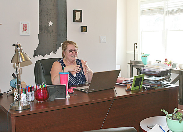NEW OFFICE: Molly Whitehead, executive director of the Boone County Economic Development Corporation, in her office at the new EDC building on Indianapolis Avenue.