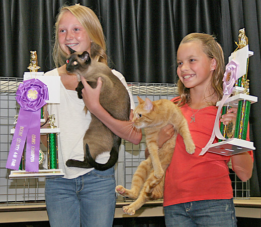 CAT'S ME-WOW: Emerson Haines (left), with best of show champion Maggie, and Katie Laucks with reserve champion Pumpkin.