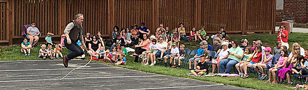 Photo submitted<br /> CRACKING GOOD ENTERTAINMENT: Chris Camp, known as the Whip Guy, performs at a summer reading event at the Thorntown Public Library recently.