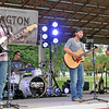Rod Rose The Lebanon Reporter<br /> OPENING SET: Darlington Road band members (from left) Jason Cox, on bass,dummer Andre Vaugh, lead vocalist Ethan Carpenter and lead guiatirst Scott Climer boom into their first song at Saturday night's free concernt at the Joe Haboush Memorial Bandstand in Memorial Park.