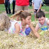 "Mad Scramble: ""Gold Diggers - Dash for Cash"" participants (from left) Madelyn Hinton, 6, Samantha Dunshee, 7, and Andrew Butler, 7, attack the 14x10 foot area for gold $1 coins and candy during Family Day Tuesday morning at the 2016 Boone County 4-H Fair. Three age groups took part in the event, and had 30 seconds to sccop as many envelopes and as much candy as possible. First-year Family Day Coordinator Carey Roberts said they added candy this year to give the event extra appeal to the kids."