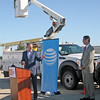 Rod Rose The Lebanon Reporter<br /> TELECOMM ACHIEVEMENT: Mark Hosfeld, Duke Realty's vice president for leasing and development (left), and AT&T Indiana President Bill Soards joined other dignitaries Thursday morning to announce that Lebanon Business Park had been certified Fiber Ready.