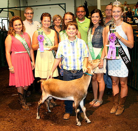 Rod Rose The Lebanon Reporter<br /> HIGH DOLLAR GOAT: Tanner Weakley, joined by queen's court, buyers and friends, sold his grand champon dairy goat for $700 at Thursday's Boone County 4-H Fair livestock auction. Buyers included State Bank of Lizton, Co-Alliance Lebanon, Co-Alliance Indian Trails and Boone County Resource Recovery.