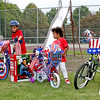 Rod Rose The Lebanon Reporter<br /> BIKES AND TIKES: Age group winnrs of the Fourth of July Pedal Parade Saturday at Lebanon's Memorial Park were (from left) Anthony Badillo, 8, Jaiden Weathers, 4 and Dylan Trent, 11. More than 50 children rode decorated bicycles and tricyles on a lap around the park, with a lights-and-sirens escort from Lebanon Fire Department Chief Chuck Batts.
