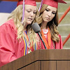 Rod Rose The Lebanon Reporter<br /> Western Boone High School salutatorian Morgan Ragsdale (left) and valedictorian Hannah Hayden greet a capacity audience for the class of 2014's graduation ceremony Saturday in the WB gymnasium.
