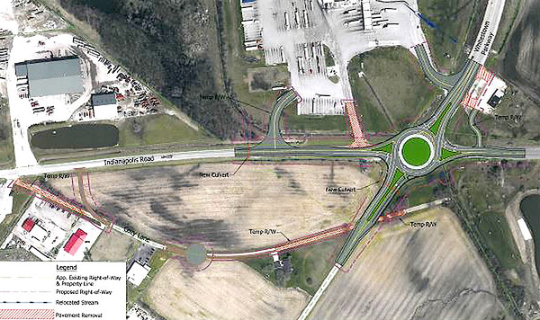 Submitted photo<br /> This conceptual graphic shows the proposed location of a roundabout Whitestown wants to build at the intersection of Whitestown Parkway and Indianapolis Road.