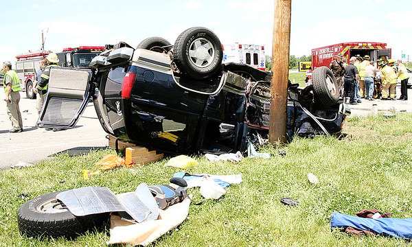 An occupant of this Chevrolet Suburban died, and another was critically injured, in a Thursday afternoon crash on Indiana 267 at Indianapolis Road.