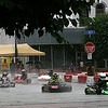 Rod Rose The Lebanon Reporter<br /> LAPS IN THE RAIN: Five go karters blast through a corner onto Meridian Street during heat races Saturday for the Mel Kenyon Classic in downtown Lebanon.