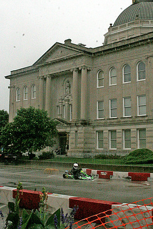 Rod Rose The Lebanon Reporter<br /> COURTHOUSE KART: Despite rain and storms, go karts zipped around the Boone County Courthouse Saturday during heat races for the Mel Kenyon Classic.