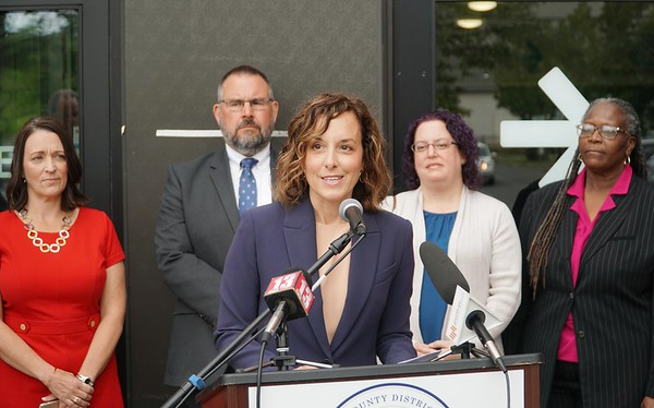 BEN GARVER — THE BERKSHIRE EAGLE<br /> District Attorney Andrea Harrington announced a new Juvenile Justice Initiative at the Boys and Girls Club in Pittsfield, Tuesday September 10, 2019. <br /> Left to right in background: Pittsfield Mayor Linda Tyer, North Adams Mayor Thomas W. Bernard, Berkshire Bridges Working Cities Director Alisa Costa and Pittsfield Public Schools Cultural Proficiency Coach Shirley Edgerton.